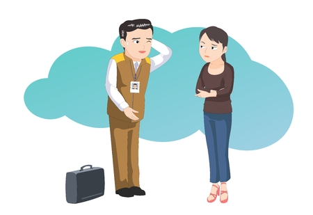 dissatisfaction: Customer service-vector illustration