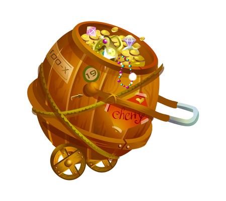 carretilla: Cool elegante vagón con monedas de oro ilustración vectorial icono.