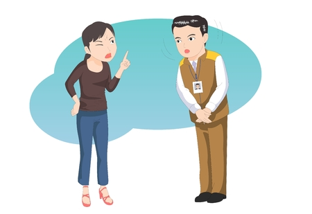 dissatisfaction: Customer service talking to irrate -vector illustration