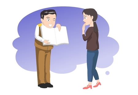 dissatisfaction: Customer service explaining -vector illustration Illustration
