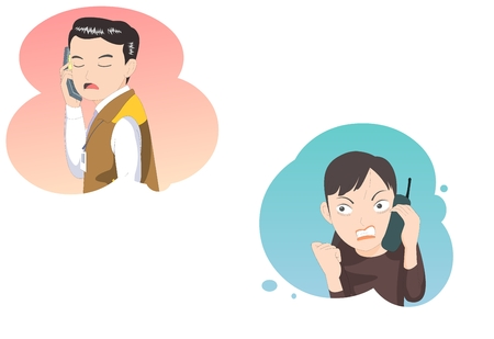 dissatisfaction: Customer service irrate caller -vector illustration