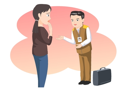 Customer service- agent apolizing to a woman customer - vector illustration