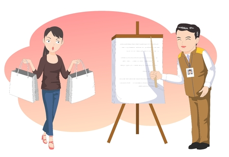 Customer service-agent showing business chart - vector illustration Illustration