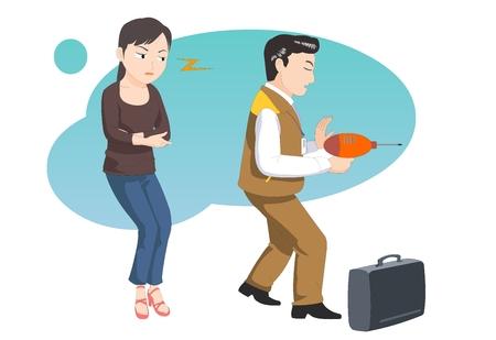 Customer service-agent delivering vector illustration