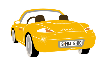 Artistic icon vector illustration of a yellow car.