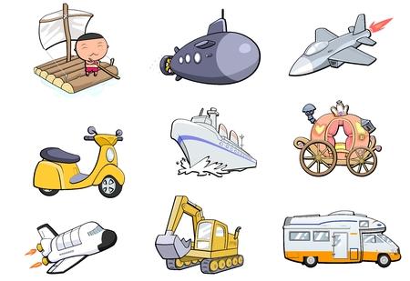 dugout: Transportation icon set Illustration