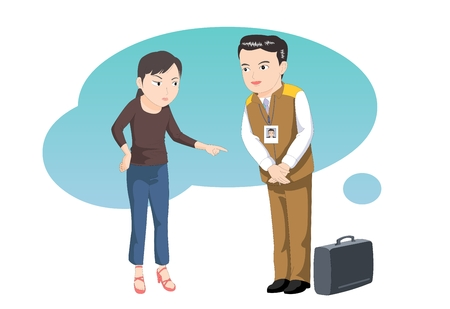 dissatisfaction: Customer service-courteous agent - vector illustration Illustration