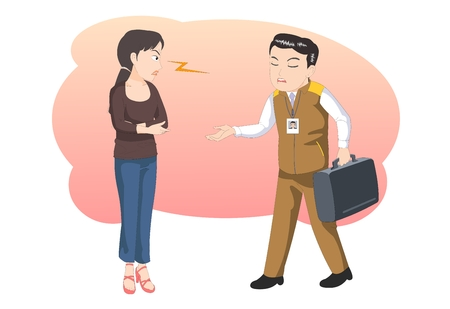 dissatisfaction: Customer service- offering help- vector illustration