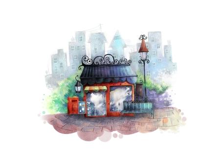 Cute little caf  illustration