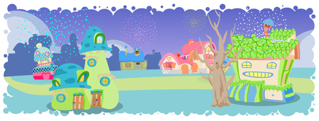 house painter: Cute little colorful village  illustration
