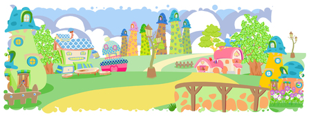 thunderhead: Cute little colorful village  illustration