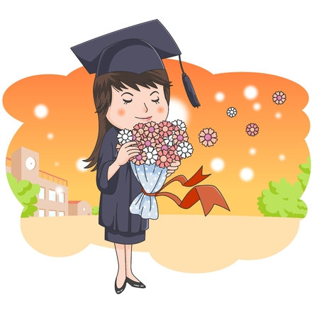 sunsets: Graduation concept   illustration Stock Photo