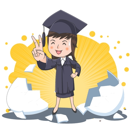 Graduation concept   illustration Stok Fotoğraf