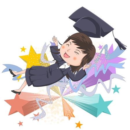 high flown: Graduation concept  illustration