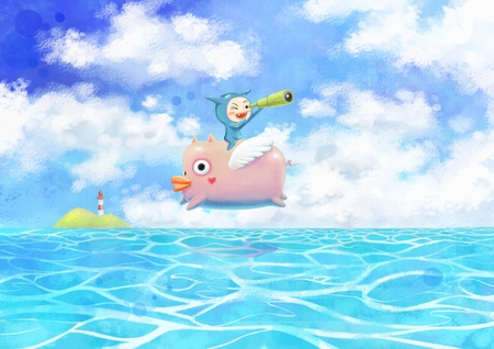 Little kid flying with a pig  illustration
