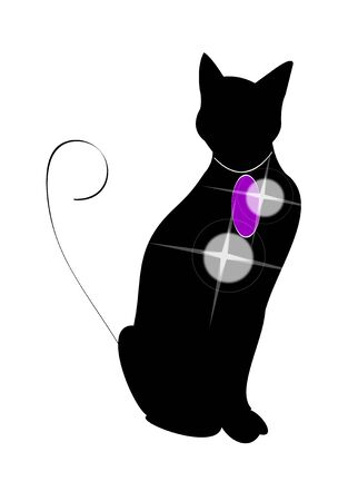 vector illustration of black cat with necklace.