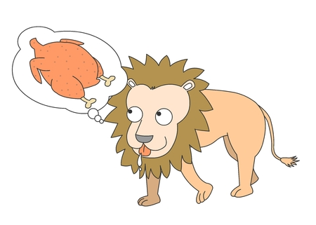 Animal character vector illustration-lion