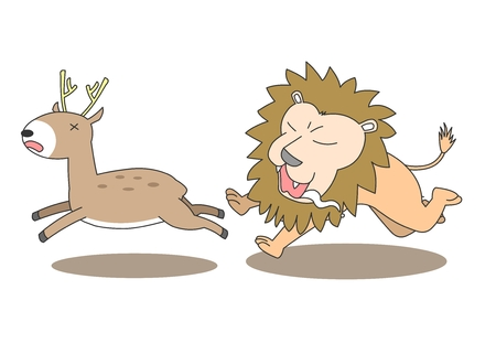 freaked out: Animal character vector illustration-lion chasing deer