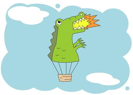 Animal character vector illustration-dinosour hot air balloon