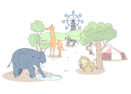 anthropomorphism: Animal character vector illustration-zoo Illustration