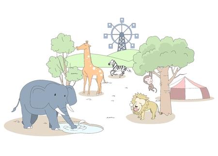 Animal character vector illustration-zoo Illustration