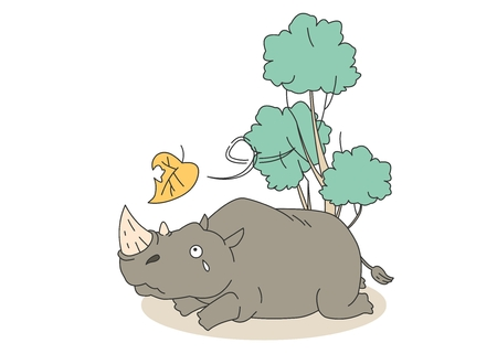a situation alone: Animal character vector illustration-rhinoceros
