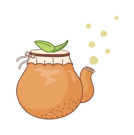 Illustration of a decorative vector illustration: plant on a pot.