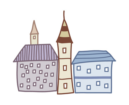 children's story: vector illustration: building