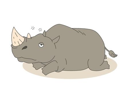 Animal character vector illustration-rhinoceros