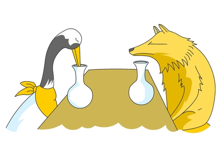 dissatisfaction: Animal character vector illustration-aesops fables(fox and crane)