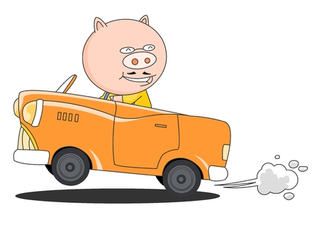 Animal character vector illustration-pig Illustration