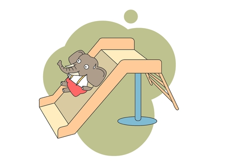 playground rides: Animal character vector illustration-elephant