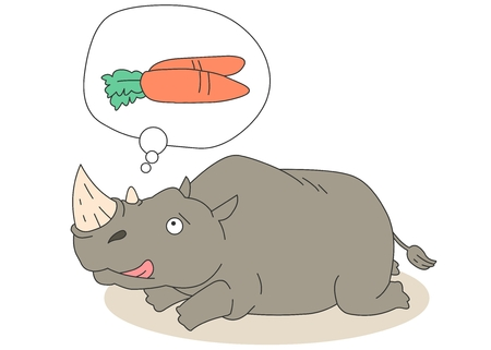 sharpness: Animal character vector illustration-rhinoceros