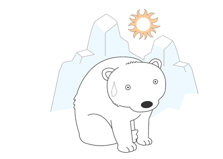 crouch: Animal character vector illustration-polar bear