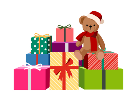 Illustration of a decorative vector illustration: teddy and gifts