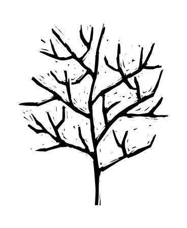 Illustration of a decorative vector illustration: leafless tree Illustration
