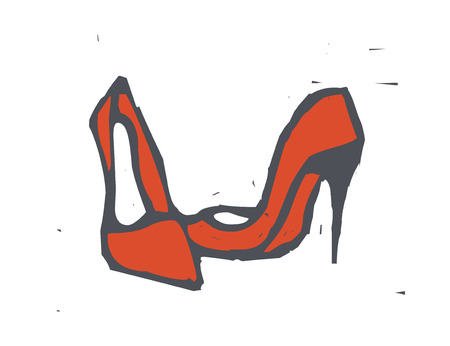 Red stiletto shoes vector illustration.