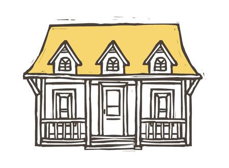 Cottage huis vector illustratie Stockfoto - 74703575