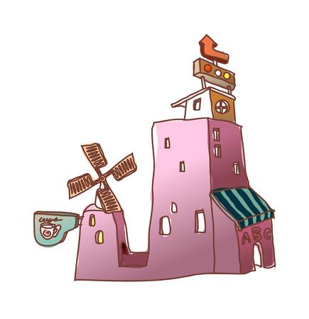 Windmill building vector illustration Illustration
