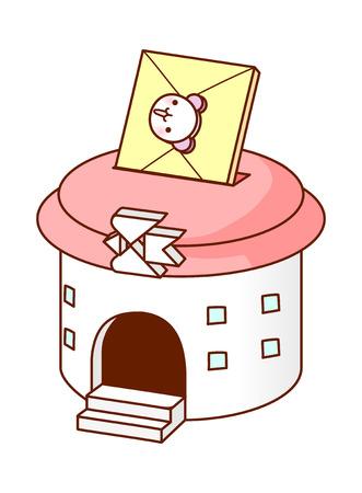 post office building: vector illustration: building