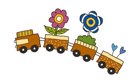 Cartoon illustration: train.