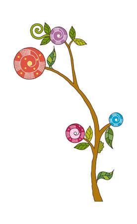 a bough: Cartoon illustration: flower.