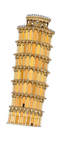 leaning tower of pisa: vector illustration: landmark