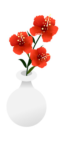 Concept of a  Vector Illustration:  flower on a white pot
