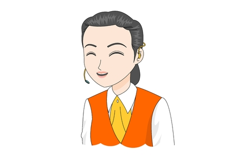 telephone icon: Female worker in uniform vector illustration.