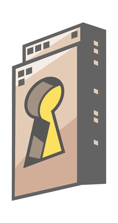 key hole: Vector Illustration: city