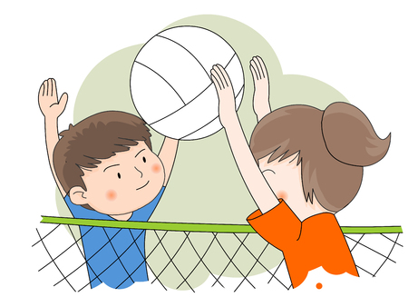 Volleyball Playing Illustration