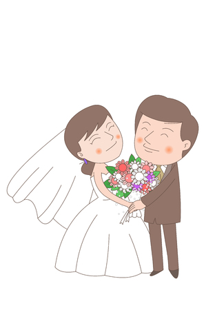 Newlyweds In Love Illustration