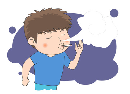 A teenage boy smoking a cigarette Illustration