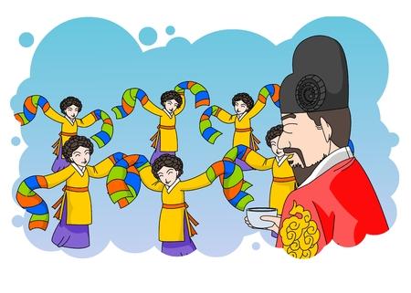 Old Korean King watching a dance performance